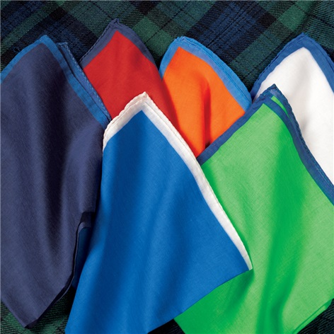 Cotton Pocket Squares with Contrasting Borders