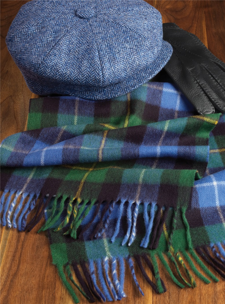 Cashmere Plaid Scarf in Jade, Sky and Navy