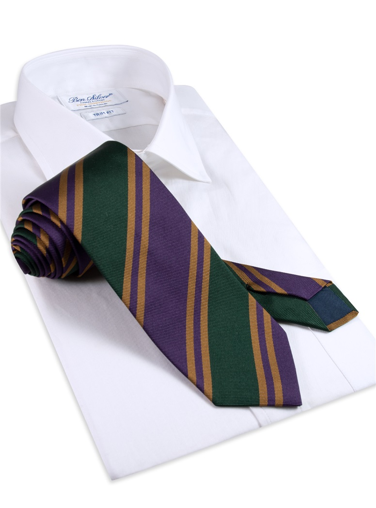 Silk Woven Striped Tie in Violet and Forest