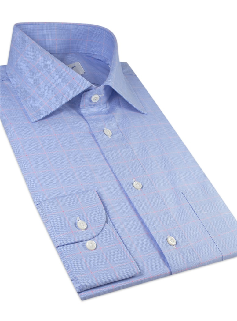 Sky and White Glen Plaid Spread Collar with Pink Windowpane