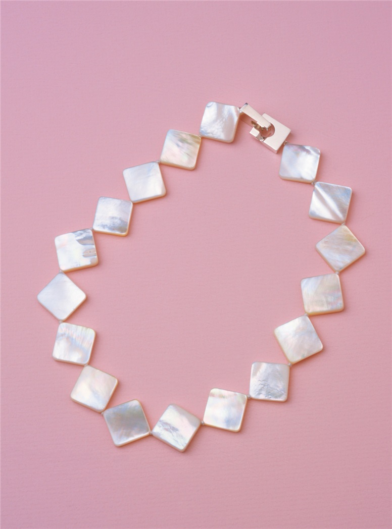 White Square Mother of Pearl Necklace