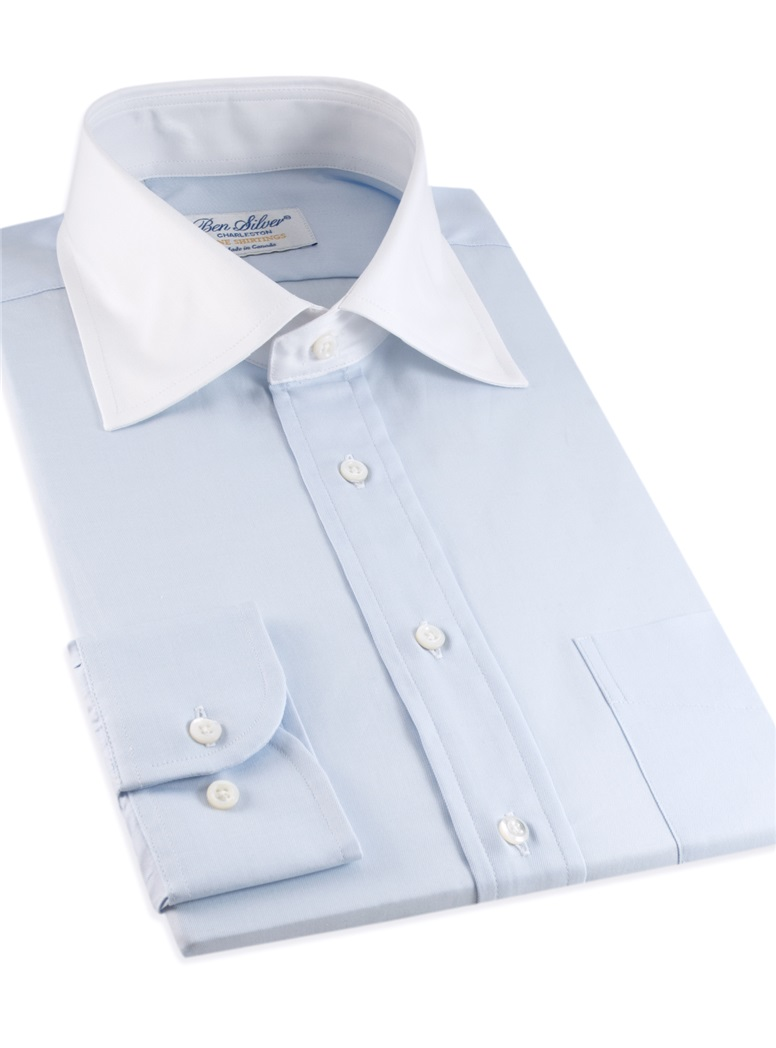 Classic Blue Twill with White Spread Collar