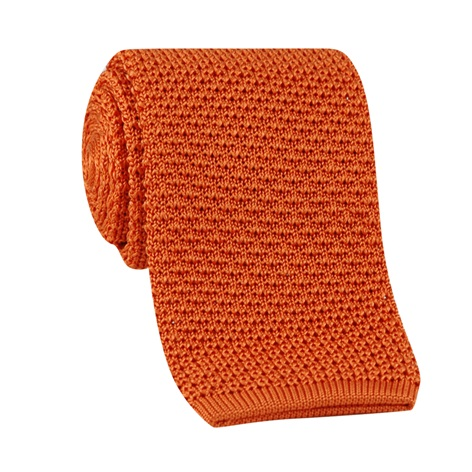 Classic Silk Knit Tie in Tangerine