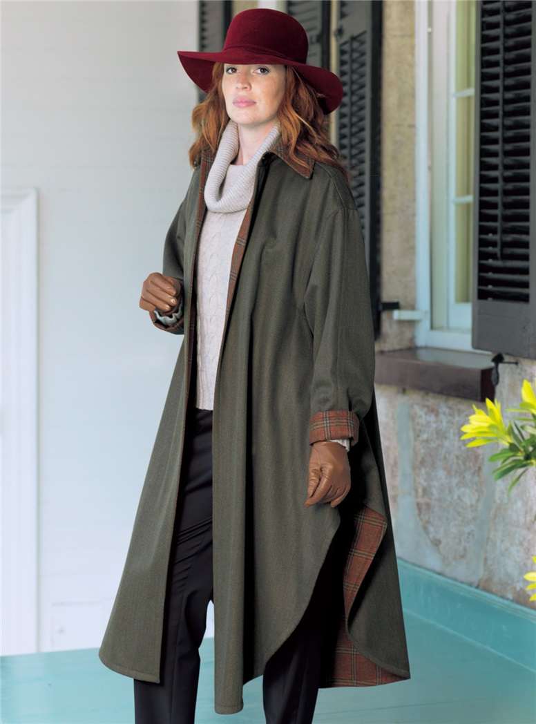 Ladies Wool and Cashmere Cape in Olive Mélange