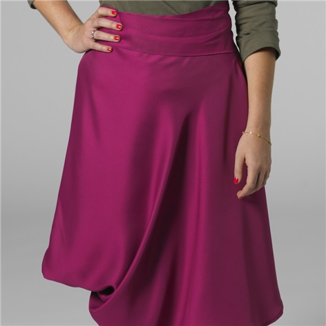 Marie Meunier Apostrophe Wrap Skirt in Fuchsia