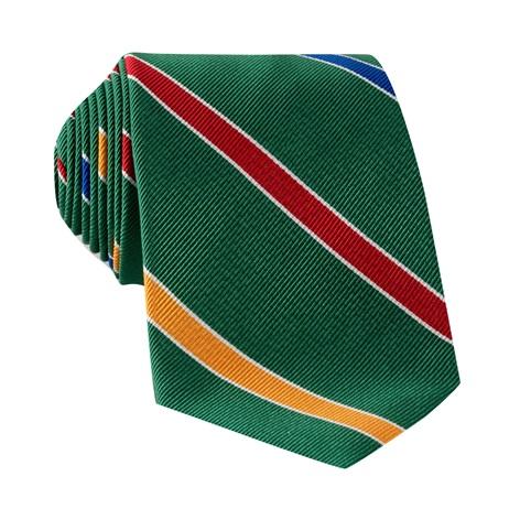 Silk Multi-Stripe Tie in Kelly Green
