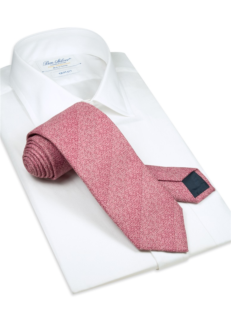 Silk Woven Tie in Rose