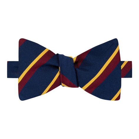 Mogador Silk Double Stripe Bow Tie in Navy