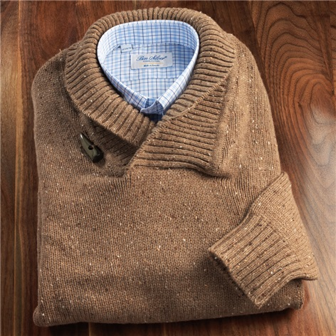 Donegal Lambswool Shawl Collar Sweater in Camel