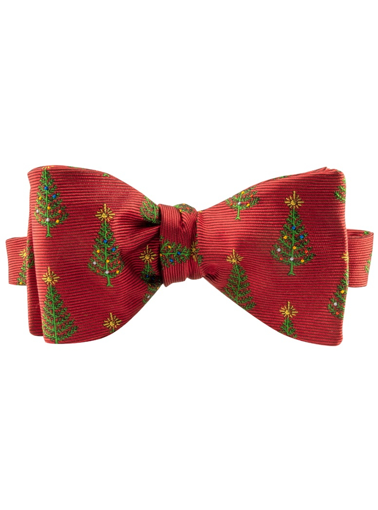 Jacquard Woven Christmas Bow Tree Tie in Red