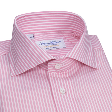 Cotton and Linen Pink and White Stripe Cutaway