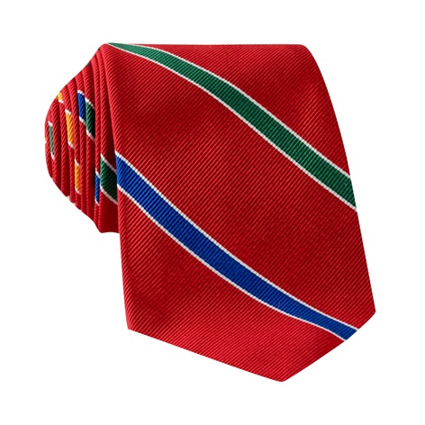 Silk Multi-Stripe Tie in Red