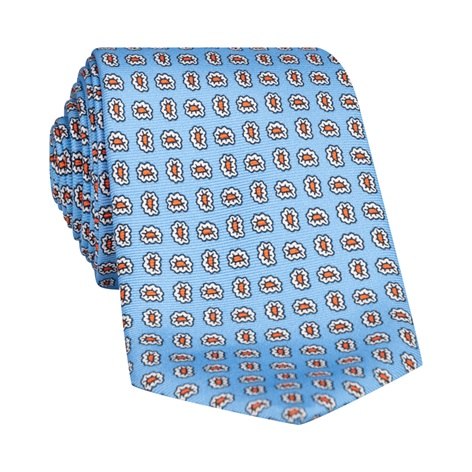Silk Droplet Paisley Printed Tie in Sky