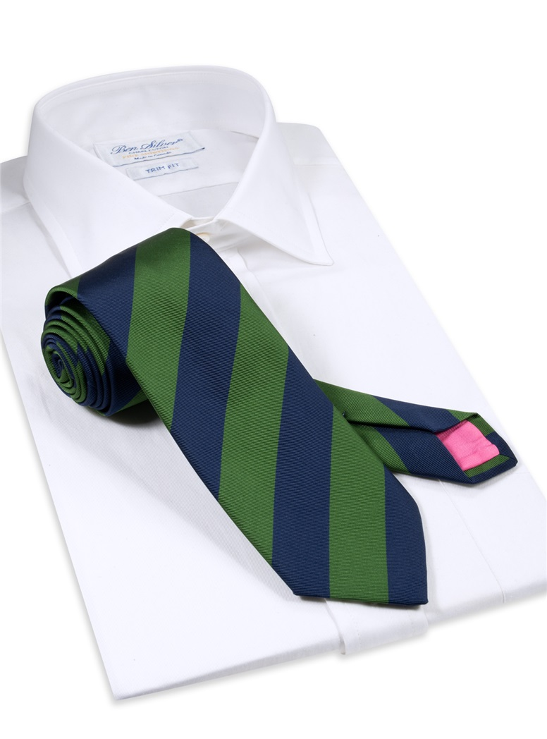 Mogador Block Striped Tie in Fern and Navy