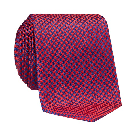Silk Basketweave Tie in Ruby and Royal Blue