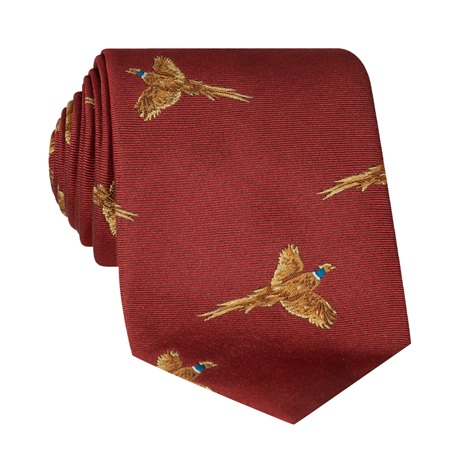 Silk Woven Pheasant Tie in Cranberry