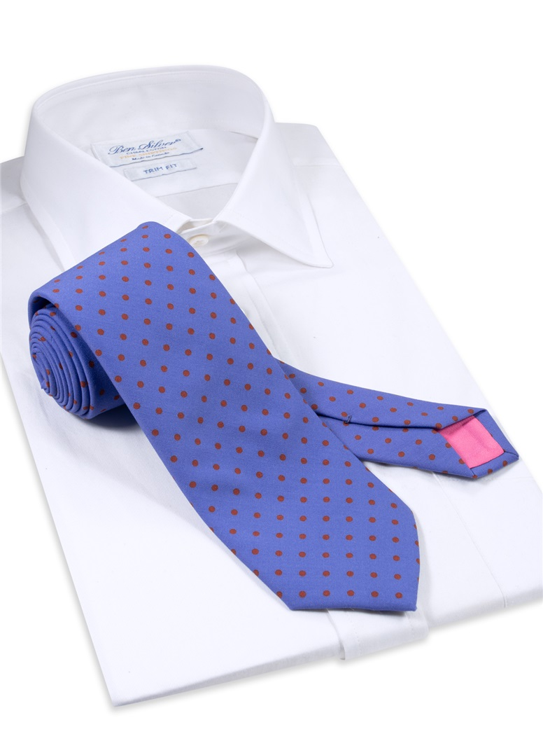 Wool Printed Dots Tie in Cobalt with Rust