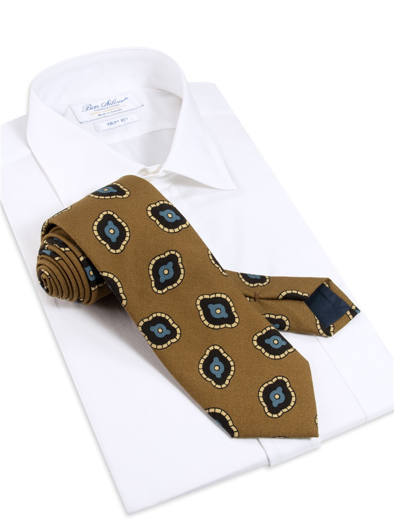 Wool Printed Tie in Mocha