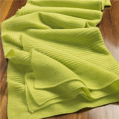 Cashmere Ribbed Wrap in Lime