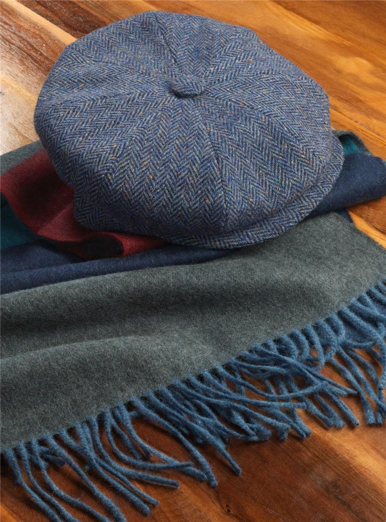 Wool Muirfield Cap in Blue Herringbone