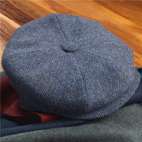Wool Muirfield Cap in Blue Herringbone