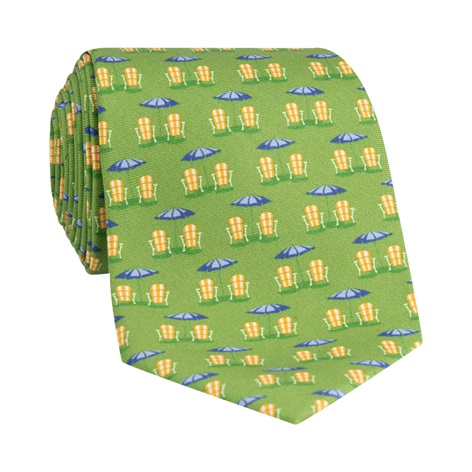 Beach Chair and Umbrella Printed Tie in Sage