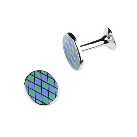 Lapis and Mint Diamond Design Oval Cufflinks