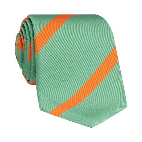 Silk Bar Striped Tie in Sea Green with Tangerine