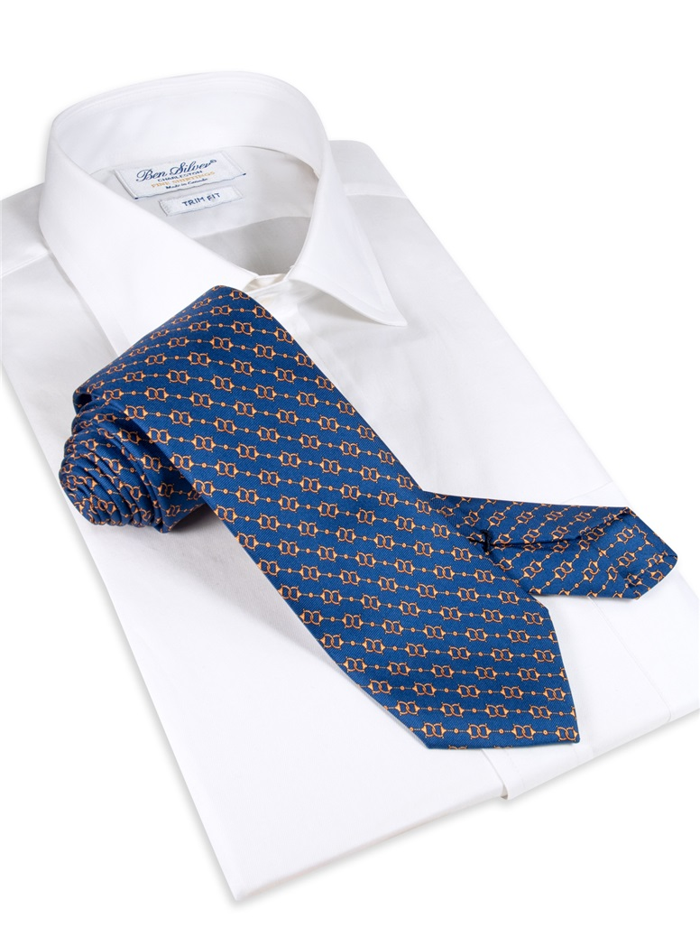 Silk Horse Bit Motif Tie in Royal Blue