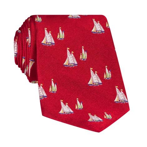 Silk Woven Sailboat Motif Tie in Cardinal