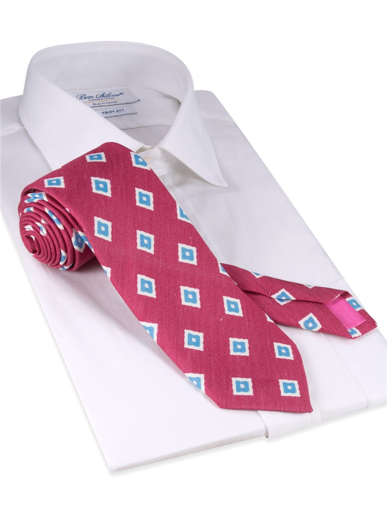 Silk and Linen Diamond Motif Tie in Azalea