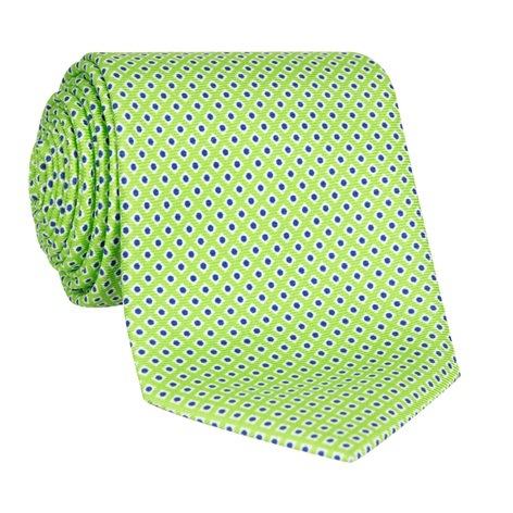 Silk Printed Dots Tie in Lime with Royal Blue