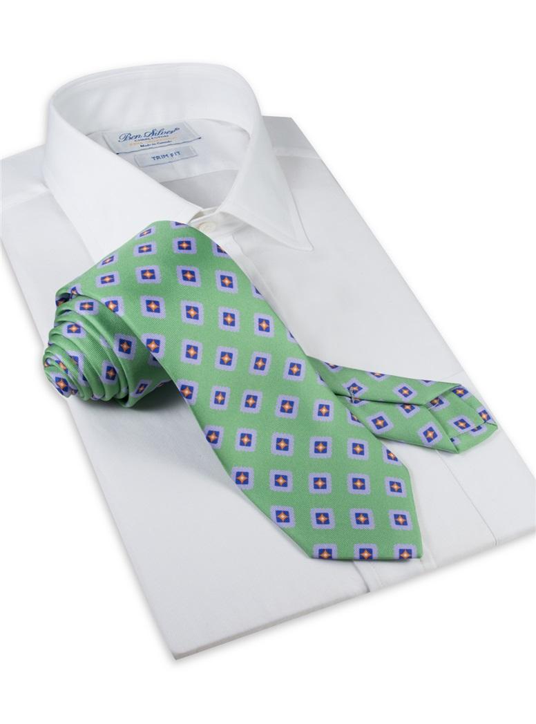 Silk Printed Tile Motif Tie in Lime