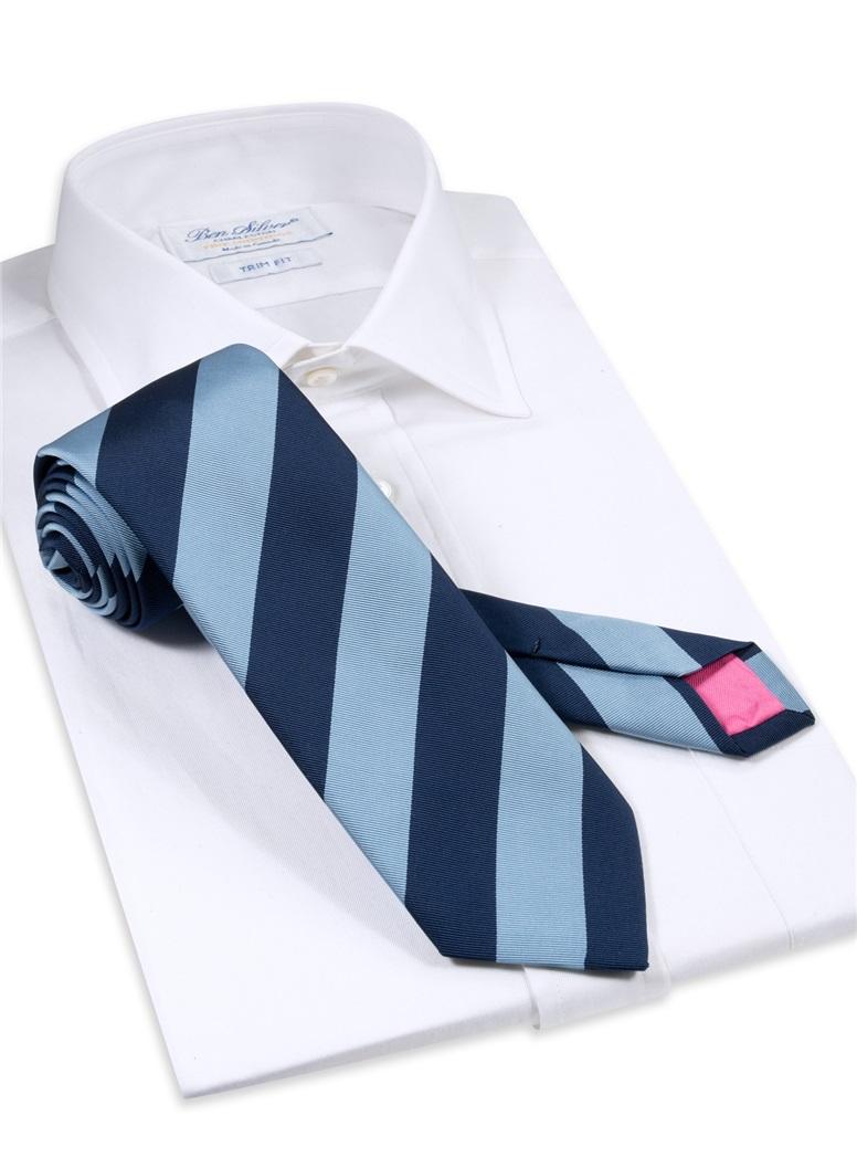 Mogador Block Striped Tie in Sky and Navy