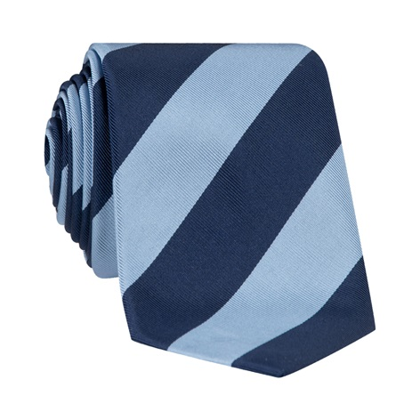 Mogador Block Striped Tie in Sky and Navy