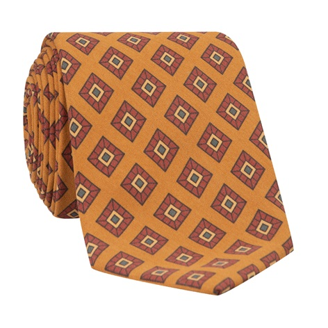 Silk Diamond Printed Tie in Amber