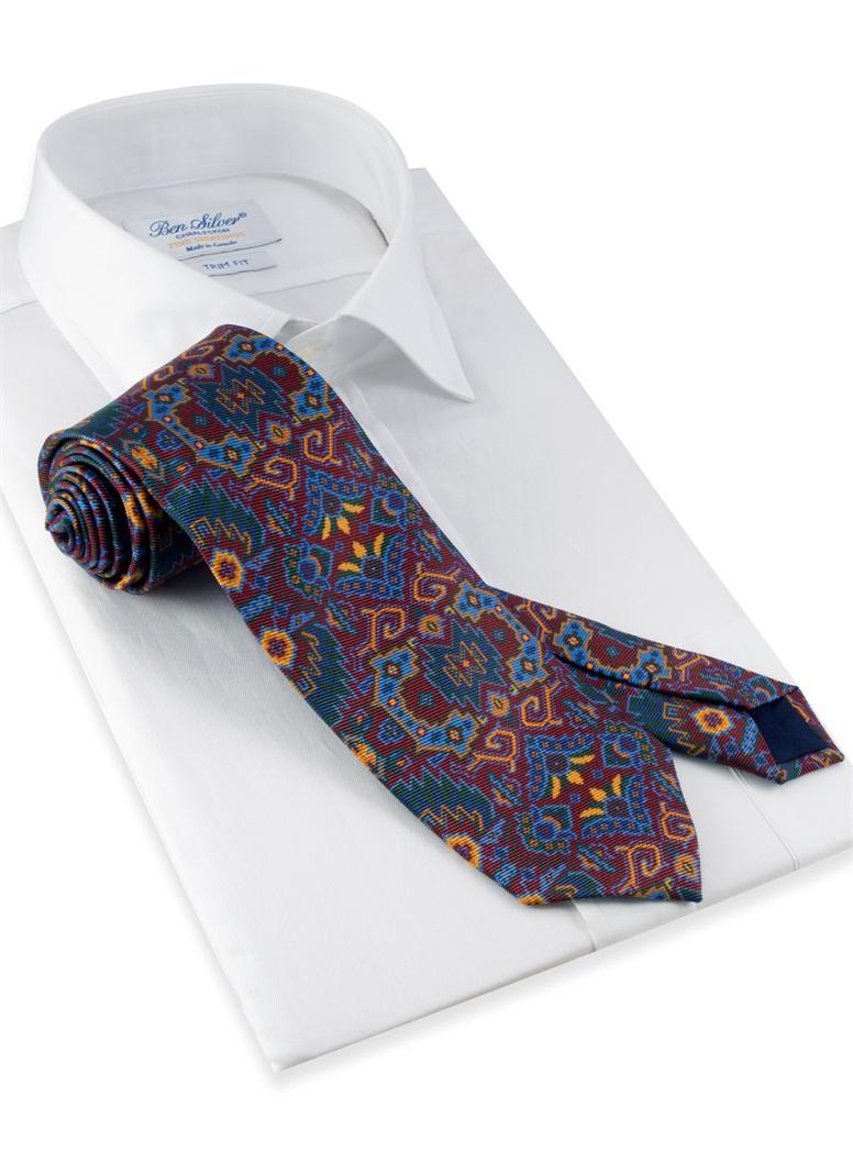 Silk Kelim Printed Tie in Wine
