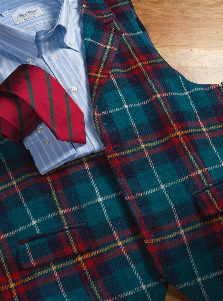 Turquoise and Navy Plaid Harris Tweed Waistcoat