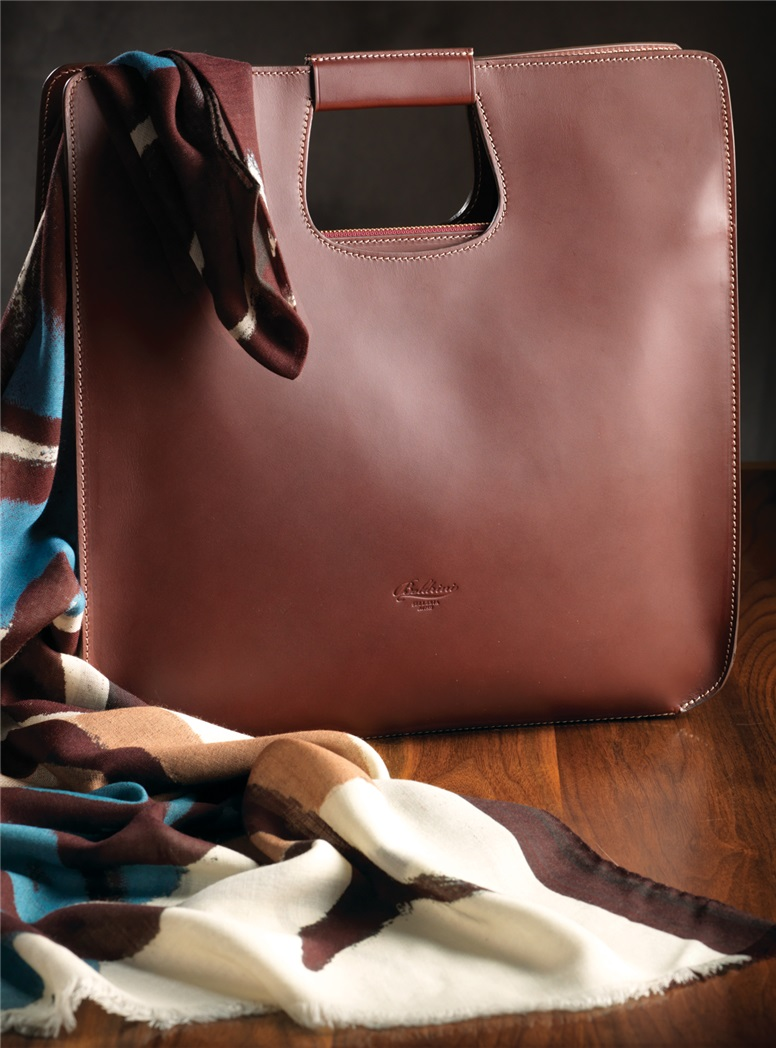 Ladies Leather Top Handle Tote in Bordeaux