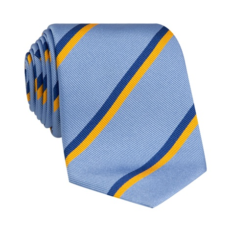 Silk Double Stripe Tie in Sky