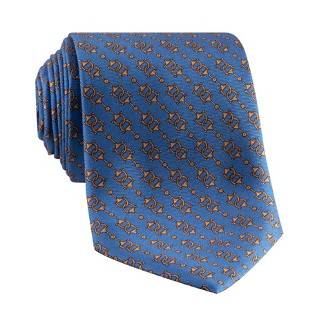 Silk Horse Bit Motif Tie in Cornflower
