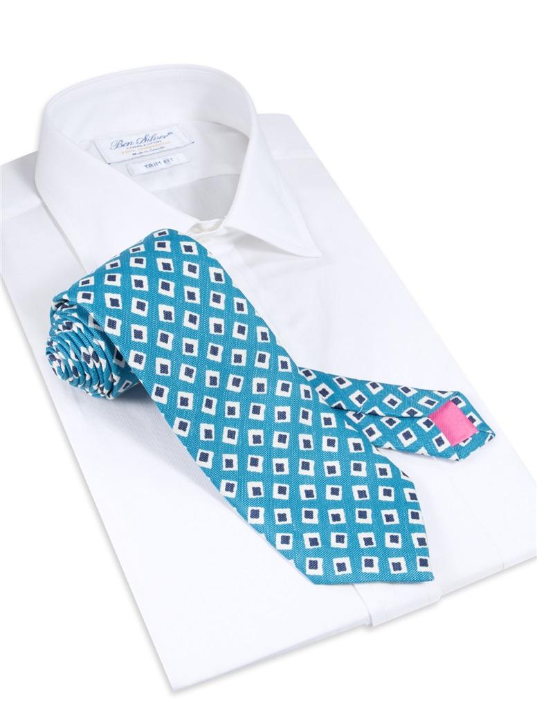 Silk and Linen Diamond Motif Printed Tie in Azure