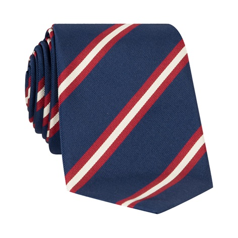 Silk Striped Tie in Navy