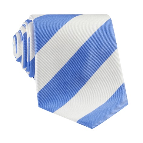 S19-Summer Blue and White Block Stripe Tie