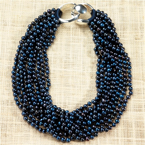 10-strand Blue Naturally Dyed Pearls