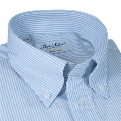 Blue and White Bengal Stripe Button Down in Cotton and Cashmere