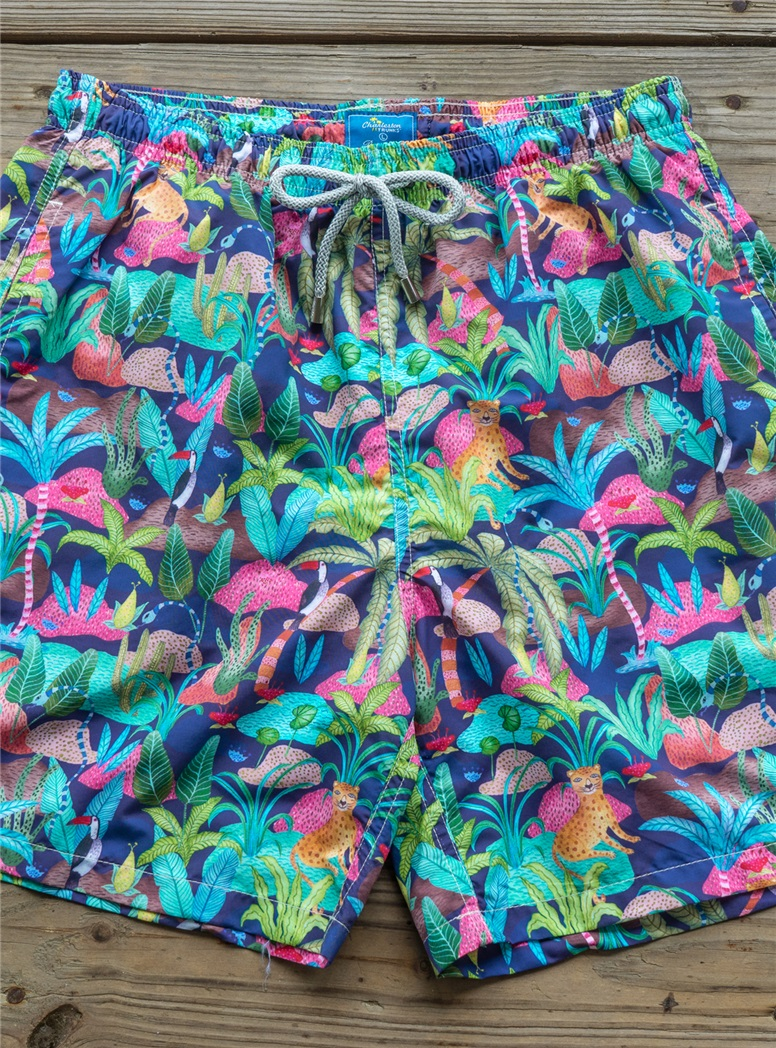 Jungle Print Trunks in Midnight