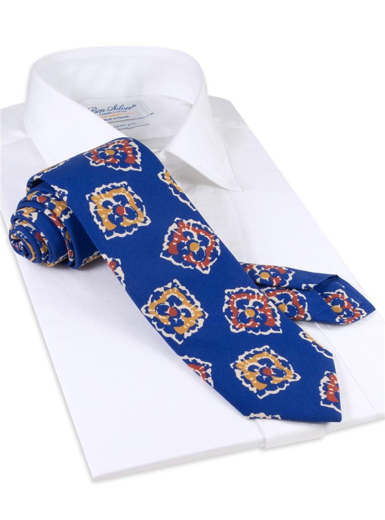 Silk Print Floral Tie in Royal Blue