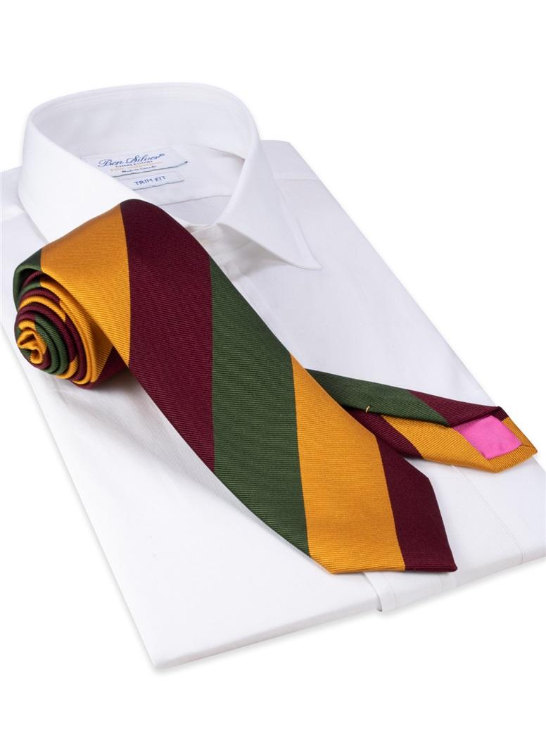 Silk Block Striped Tie in Maroon, Field and Marigold