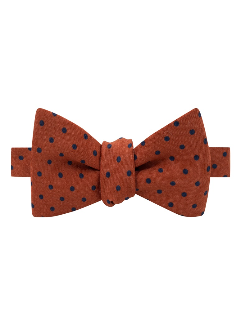 Wool Printed Dots Bow Tie in Amber with Navy